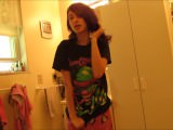 Little teen strips, showers and fingers herself